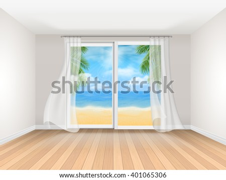 empty room with sliding window