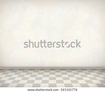 Empty room with white wall, tile floor. Classical vector interior