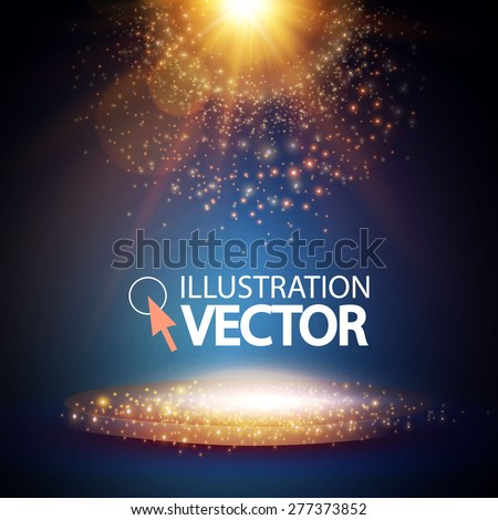 Empty scene & lights. Vector illustration