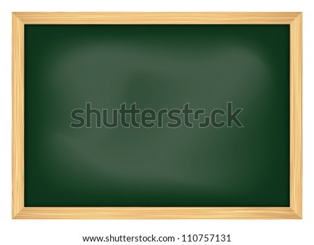 empty school chalkboard with frame, vector illustration
