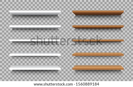 Empty shelf for stand box for store, advertising merchandising. 3d white blank showcase display in mockup style for interior house. Bookcase, store rack on isolated background. Wood shelves. vector