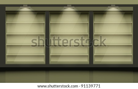 Empty shelves, illuminated by searchlights.  Vector interior.