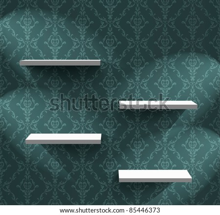 Empty shelves on the wall with ornamental wallpaper