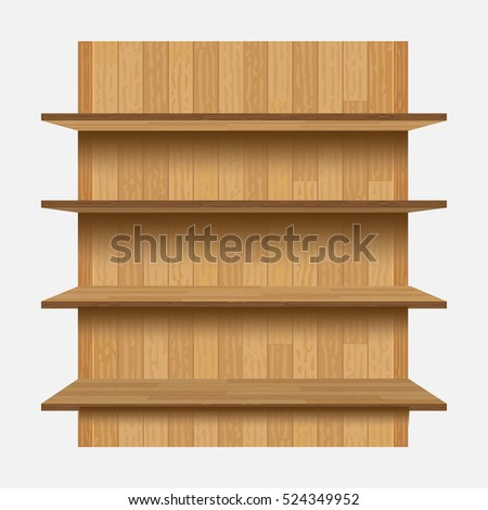 empty shelves on the wooden