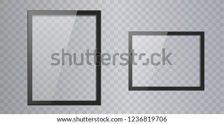 Empty shiny frame with reflection and transparency screen isolated. Lcd monitor vector illustration. Lcd display screen, tv digital panel plasma. 3D glassy picture frame design.