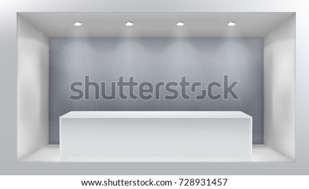 Empty shop window. Vector illustration.