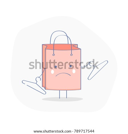 Empty Shopping Bag (Basket) icon. Cute Disappointed Shopping Bag. Flat outline design, e-commerce isolated vector illustration on white. Business template.