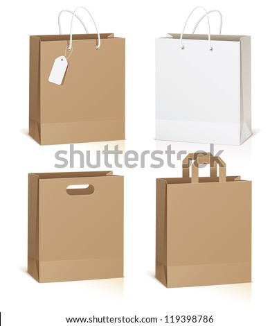Empty shopping bag isolated on white background, vector illustration