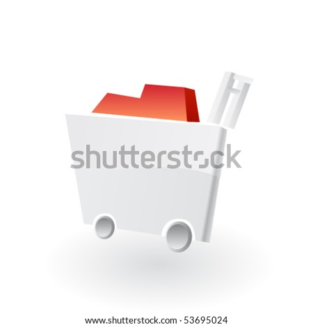Empty shopping cart isolated on white background. Vector