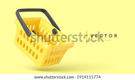 Empty shopping cart isolated on yellow background. Concept banner for online sales. Vector illustration