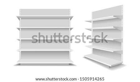 Empty showcase racks. Advertising blank supermarket shelves, shopping mall empty retail products showcases, white display shop shelf set vector illustration