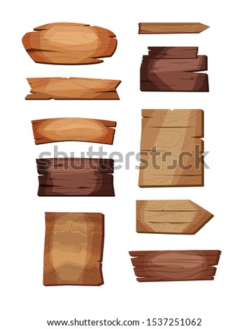 Empty signboards or wood planks of different colors and textures. Set of old, retro banners. Vector illustration.