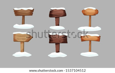 Empty signboards or wood planks of different colors and textures with snow on it. Set of old, retro banners. Vector illustration.
