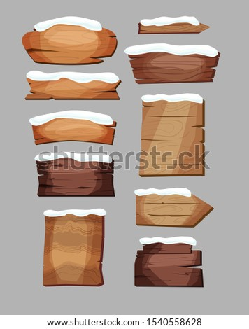 Empty signboards or wood planks of different colors and textures with snow. Set of old, retro banners. Vector illustration.
