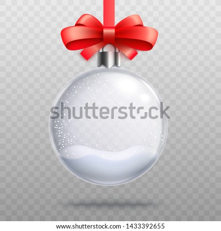 Empty snow globe bauble hanging by pretty red ribbon, realistic glass Christmas tree decoration in shape of a sphere with snow inside. Christmas gift graphic template - isolated vector illustration