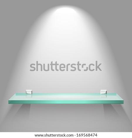 empty square glass shelf under