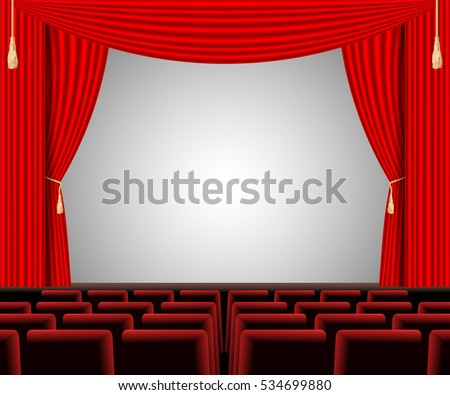 Empty stage with red curtain and empty auditorium. Poster for concert, party, theater, dance template. An auditorium with a seating area and a red curtain