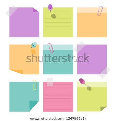 empty stickies paper notes, vector illustration, eps10
