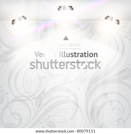 empty storefront with floral seamless background. You can change colors for the background, vector eps 10