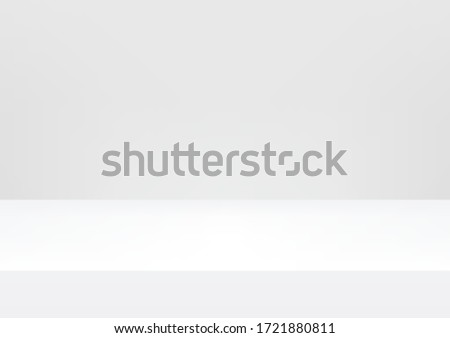 Empty studio white background for product display with copy space. Showroom shoot render. Banner background for advertise product.