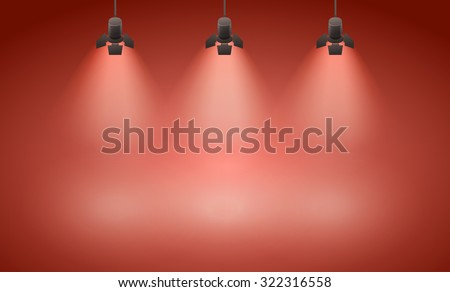 empty  studio with lights red