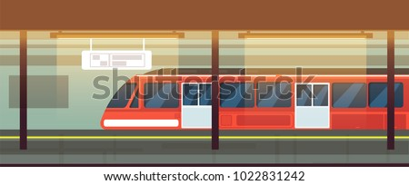 Empty subway station interior with metro train vector illustration. Underground metro train, subway railway transport