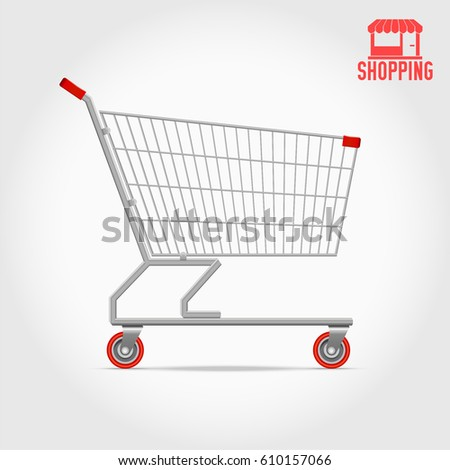 Empty Supermarket Shopping Cart, Side View.  Editable Hi-Detailed Vector Illustration Isolated on White. Big Discount Concept. Red Shopping Logo as a Bonus.