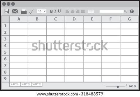 Empty table document, vector illustration