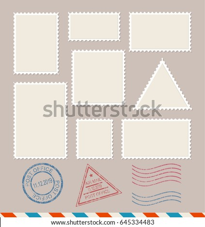 Empty Template Blank White Postage Stamps Set Paper Mark Symbol of Delivery Correspondence. Vector illustration stock photo
