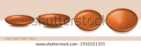 Empty terracotta bowl or brown clay serving bowl. This Plate or bowl Traditionally used in Bengali new year Boishakh celebration to serve panta ilish. Known as Shanki or Thala 3D Render illustration. Stock photo ©