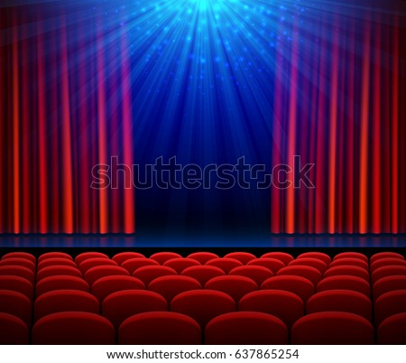 empty theater stage with red