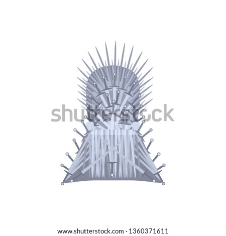 Empty throne cartoon style, vector illustration isolated on white background. Fantasy chair made of antique swords or metal blades, medieval chair built of weapon