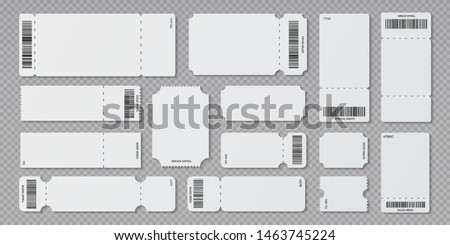 Empty ticket template. Concert movie theater and boarding blank white tickets, lottery coupons with ruffle edges. Vector isolated modern coupon set for travelling festival airplane