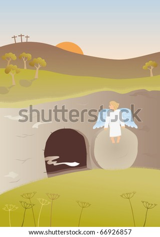 Empty tomb. The Easter story. Angel sitting on the stone in the front of the empty tomb of Jesus.