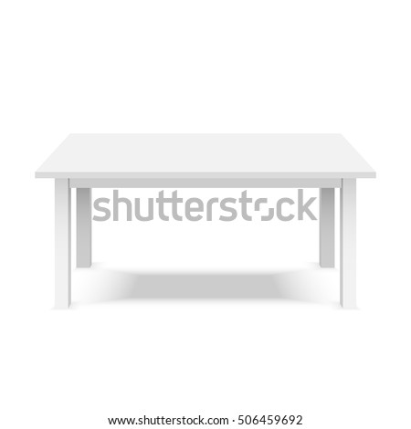 Empty top table of white plastic table isolated on white background. Table for product display template. Vector 3d table for object presentation