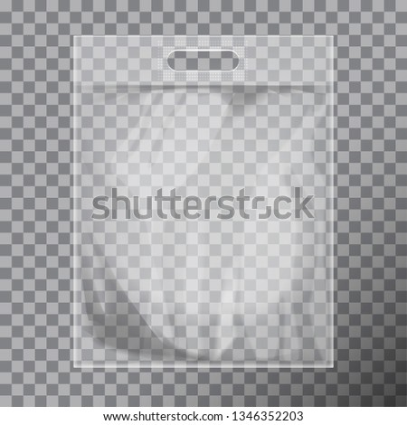 Empty transparent blank plastic bag mock up isolated. Consumer pack ready for logo design or identity presentation. Commercial product food packet handle for your design