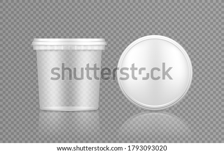 Empty transparent bucket with cap top view mockup for ice cream, yoghurt, mayo, paint, or putty. Plastic package design. Blank food or decor product container template. 3d vector illustration Stockfoto ©