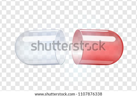 empty transparent capsules. Painkillers, antibiotics, vitamins, amino acids, minerals, bio active additive, sports nutrition. Icons of medicament. Medical illustration on blue background.