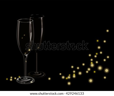 empty transparent glass of champagne isolated on the black background #429246133