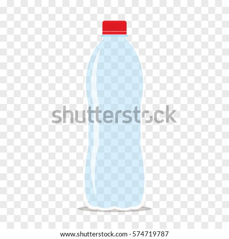 Empty transparent plastic bottle with crimson cap for water or juice. Flat icon isolated on checkered background. Stylized vector eps10 illustration with transparency.