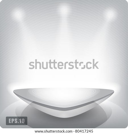 Empty triangular shelf for exhibition. Backlit. Eps10. 3d. - stock vector