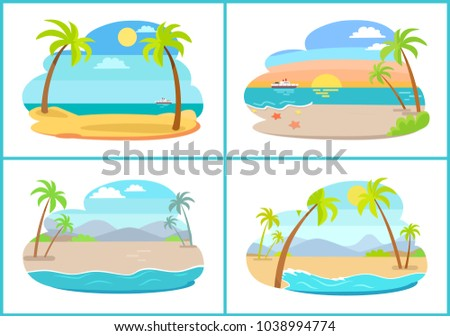Empty tropical sandy beaches with small palms set. Beach at sea shore at hot exotic country. Natural landscapes with deep ocean vector illustrations.