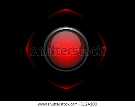Empty vector red button on black background