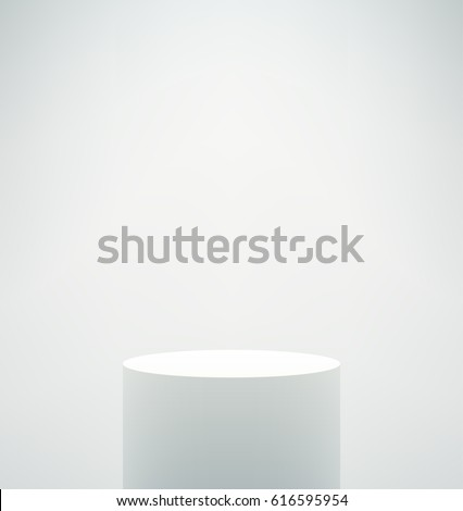 Empty vector white pedestal on white background. Neutral and calm template for your product presentation.
