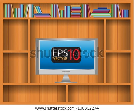 Empty vector wood shelf with TV widescreen lcd monitor and book