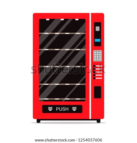 Empty vending machine isolated on white background. Automat with shelves for food or other products, automatic seller. Penny-in-the-slot, red metal vendor machine flat illustration in vector
