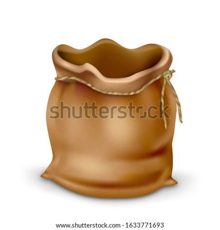 Empty Vintage Fabric Bag Purse For Coins Vector. Antique Canvas Bag With Rope Accessory For Saving Money. Ancient Textile Sack Or Pouch, Finance Economic Concept Layout 3d Illustration Foto stock ©