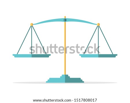 Empty vintage gold and turquoise blue weight scales isolated on white. Balance, comparison, justice, equilibrium and measure concept. Flat design. EPS 8 vector illustration, no transparency