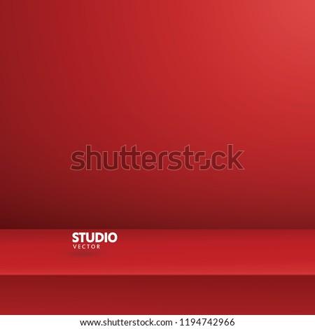 empty vivid red color studio
