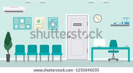 Empty Waiting room for patients in the dental office.Reception desk, Interior building for stomatology concept.Closed door. Vector illustration  in flat style.